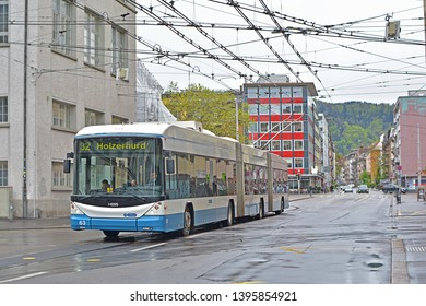 ZURICH, SWITZERLAND - APRIL 26, 2019 - Bi-articulated trolleybus, delivered by Hess and operated by Verkehrsbetriebe Zurich in the centre