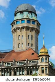 Zurich, Switzerland - August 1, 2016: tower of the Urania Sternwarte observatory. Urania Sternwarte is a public observatory in the Lindenhof quarter of the city Zurich.