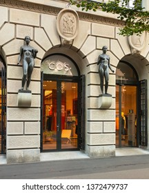Zurich, Switzerland - August 1, 2018: COS store on Bahnhofstrasse street in Zurich. COS is a contemporary fashion brand offering reinvented classics and wardrobe essentials.