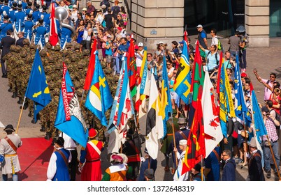 Zurich, Switzerland - August 1, 2018: participants of the parade devoted to the Swiss National Day. The Swiss National Day is the national holiday of Switzerland, celebrated on 1 August.