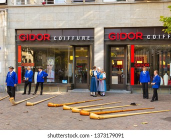 Zurich, Switzerland - August 1, 2018: participants of the parade devoted to the Swiss National Day in the old town of city of Zurich before the beginning of the parade.