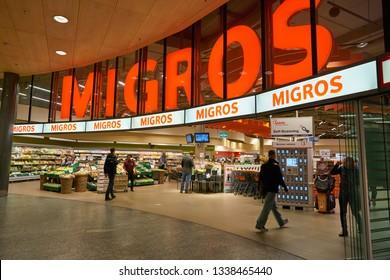 ZURICH, SWITZERLAND - CIRCA OCTOBER, 2018: entrance to Migros supermarket in Zurich International Airport. Migros is Switzerland's largest retail company.