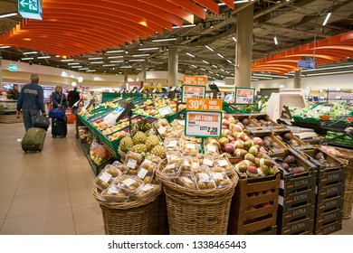 ZURICH, SWITZERLAND - CIRCA OCTOBER, 2018: interior shot of Migros supermarket in Zurich International Airport. Migros is Switzerland's largest retail company.