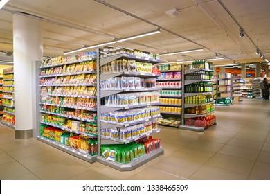ZURICH, SWITZERLAND - CIRCA OCTOBER, 2018: interior shot of Migros supermarket in Zurich International Airport. Migros is Switzerland's largest retail company.