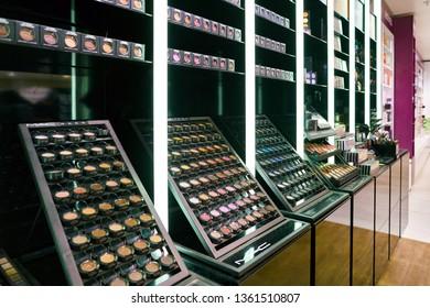 ZURICH, SWITZERLAND - CIRCA OCTOBER, 2018: MAC cosmetics on display in Zurich International Airport.