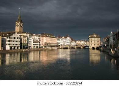 ZURICH, SWITZERLAND - DECEMBER 11, 2016: Dramatic sky over the historic center of Zurich