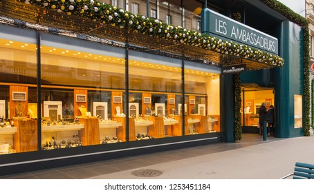 Zurich, Switzerland - December 6, 2015: windows of the Les Ambassadeurs store on Bahnhofstrasse street. The Les Ambassadeurs store offers the most prestigious jewellery and watch brands.