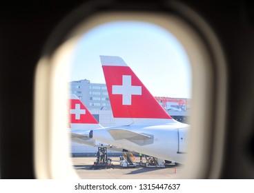 ZURICH, SWITZERLAND - FEBRUARY 13: Swiss airlines airplanes at the Zurich international airport on February 13, 2019.
