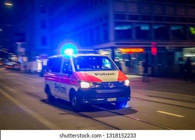 ZURICH, SWITZERLAND - FEBRUARY 17, 2019: Police car on the  streets of Zurich, Switzerland.