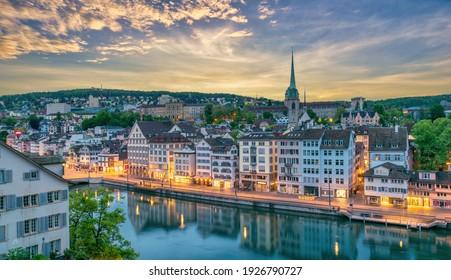 Zurich Switzerland, high angle view sunrise city skyline from Lindenhof