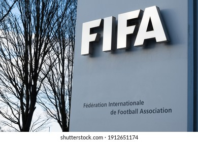 Zurich, Switzerland - January 10, 2021: FIFA is a non-profit organization and an international governing body of association football, futsal and beach soccer. Headquarter in Zurich, Switzerland