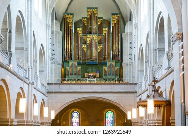 Zurich, Switzerland -  July 10, 2016:  The nave with the organ of the Grossmunster church