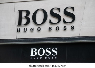 Zurich, Switzerland - July 19, 2018: Hugo Boss logo at the brand store facade