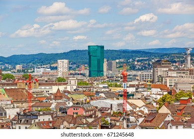 Zurich, Switzerland - June 10, 2017: Prime tower, Zurich, Switzerland with cityscape