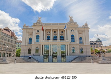 Zurich, Switzerland - June 10, 2017: Zurich Opera house building (Opernhaus Zuerich) - entrance, view from Sechselautenplatz