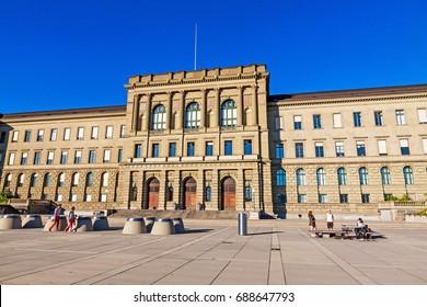 Zurich, Switzerland - June 10, 2017: Swiss Federal Institute Of Technology Main Building In Zurich