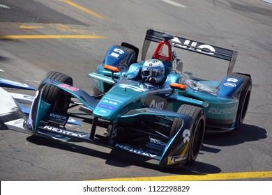 ZURICH, SWITZERLAND - JUNE 10: Luca Filippi, No. 68 NIO, driving through turn 1 during the ABB FIA Formula E Zurich ePrix on June 10, 2018 in Zurich, Switzerland.