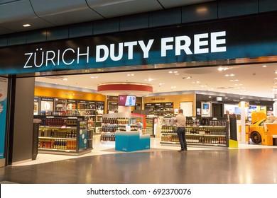 Zurich, Switzerland - June 11, 2017: Airport Zurich Duty Free shop entrance with lettering