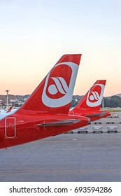 "Zurich, Switzerland - June 11, 2017: Airport Zurich - airplane tail fin of airline ""Air Berlin"" plane"