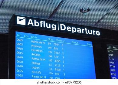 Zurich, Switzerland - June 11, 2017: Airport signboard, Departure (Abflug)