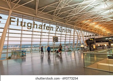 Zurich, Switzerland - June 11, 2017: Airport Zurich (Flughafen Zurich) waiting area after check-in - view towards airfield