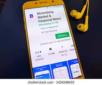 Zurich, Switzerland. June 12, 2019 - Bloomberg market and financial news application on smartphone screen by Bloomberg LP CM. get the latest financial, stock market and business news.