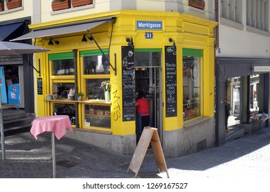 ZURICH, SWITZERLAND - JUNE 23, 2018: Take away restaurant in Zurich city center, Switzerland