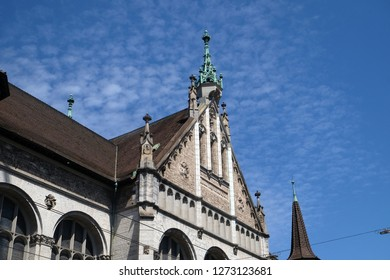 ZURICH, SWITZERLAND - JUNE 23, 2018: Facade of the Landesmuseum in Zurich, Switzerland