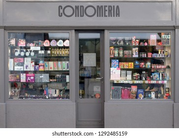 ZURICH, SWITZERLAND - JUNE 23, 2018: Condomerie, condom shop in Zurich city center, Switzerland