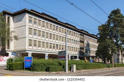 Zurich, Switzerland - June 30, 2018: one of the buildings of the University Hospital Zurich. The University Hospital Zurich is one of five university hospitals in Switzerland.