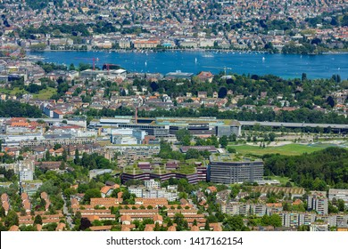 Zurich, Switzerland - June 5, 2019: the city of Zurich as seen from Mt. Uetliberg. The Uetliberg is a mountain rising to 870 m and offering a panoramic view of the entire city of Zurich.