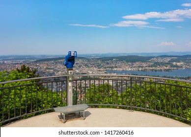 Zurich, Switzerland - June 5, 2019: view from the top of Mt. Uetliberg. The Uetliberg is a mountain rising to 870 m and offering a panoramic view of the entire city of Zurich.