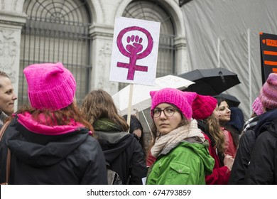 ZURICH, SWITZERLAND. MARCH - 18 - 2017. Women's March in Zurich. People demonstrate in public streets and squares of Zurich city, for women's rights.
