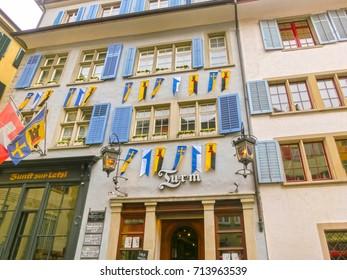 Zurich, Switzerland - May 02, 2017: The old houses at center of Zurich, Switzerland