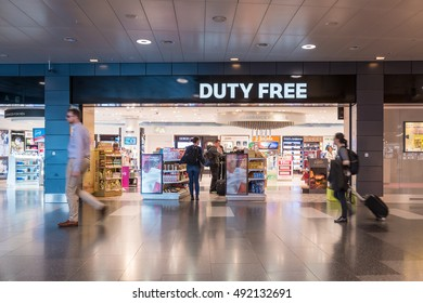 Zurich, Switzerland- MAY 14, 2016: Many passager shopping in Duty Free shop in International Airport before departure