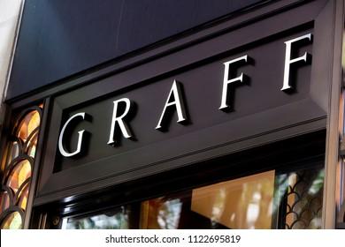 ZURICH, SWITZERLAND - MAY 19, 2018: Detail of Graff Diamonds store in Zurich, Switzerland. It is a British multinational jeweller based in London founded at 1960.