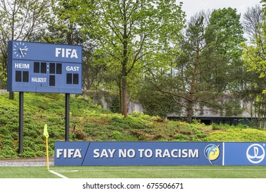 """Zurich, Switzerland - May 2017: """"No to Racism"""" motto at FIFA headquarters"""
