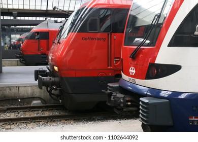 ZURICH, SWITZERLAND: MAY 21, 2018 - Trains of the Swiss Federal Railway in Zurich Station.