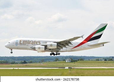 ZURICH, SWITZERLAND - MAY 25, 2014: Airbus A380 Emirates landing at Zurich airport on May 25, 2014. Emirates is rated as a top10 best airline in the world flying on youngest fleet