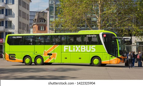 Zurich, Switzerland - May 27, 2019: a Flixbus bus at a bus station in the city of Zurich. The Flixbus is a German brand offering intercity coach services in European countries and in the USA.