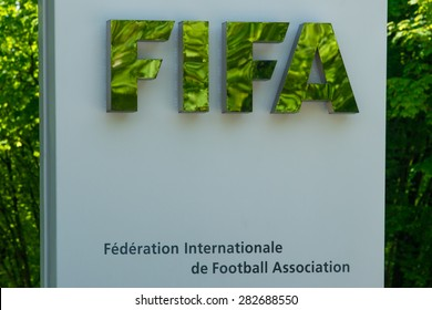 Zurich Switzerland - May 28 2015. Logotype at the entrance to the FIFA building