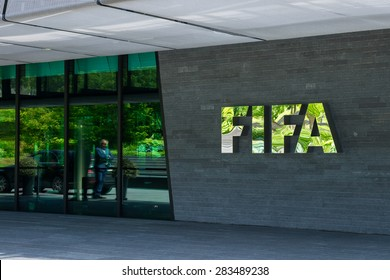Zurich, Switzerland - May 28 2015. Sign at the entrance to the FIFA head office in Zurich