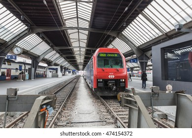 Zurich, Switzerland - MAY 30: A train at the platform of the Zurich Main railway station on 30 May 2016. Zurich Main Station or Zurich Central Station is the largest railway station in Switzerland.