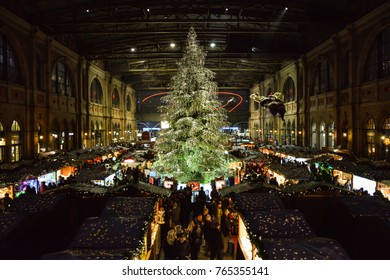 ZURICH, SWITZERLAND - NOVEMBER 2017 - Traditional christmas tree on christmas market on Zurich main train station