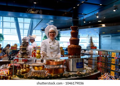 ZURICH, SWITZERLAND - NOVEMBER 21, 2017:  Christmas chocolate in the Kloten Airport, is the largest international airport of Switzerland