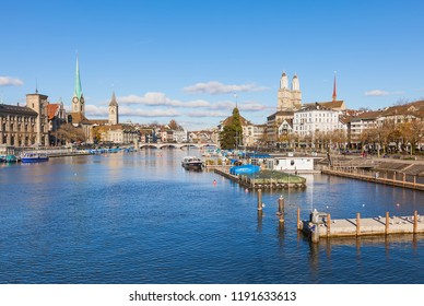 Zurich, Switzerland - November 25, 2013: view along the Limmat river, buildings of the historic part of the city. Zurich is the largest city in Switzerland and the capital of the Swiss canton o Zurich