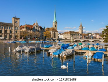 Zurich, Switzerland - November 25, 2013: the Limmat river, buildings of the historic part of the city along it. Zurich is the largest city in Switzerland and the capital of the Swiss canton of Zurich.