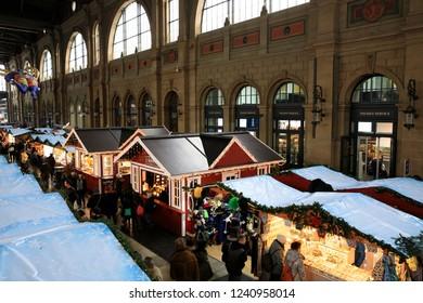 Zurich / Switzerland - November 25, 2018: Christmas market at Zurich train station, Zurich, Switzerland, Europe