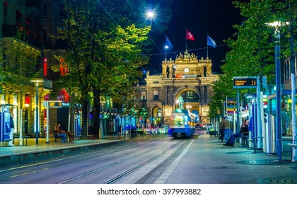 ZURICH, SWITZERLAND, OCTOBER 25, 2015: Night view of illuminated bahnhofstrasse street in zurich which is considered to be the moset expensive shopping street in the world.