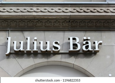 Zurich, Switzerland - October 26, 2013: Bank Julius Baer in Swiss financial center. Julius Baer Group is a Swiss private banking, which offers mainly  wealth management and investment consultation.